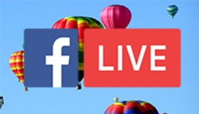 A sky filled with hot air balloons with the Facebook Live logo superimposed on top.