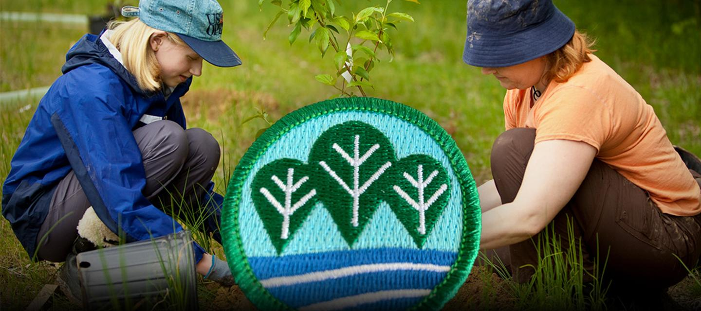 Composite image of Girl Scouts planting a tree overlaid with the fun patch earned