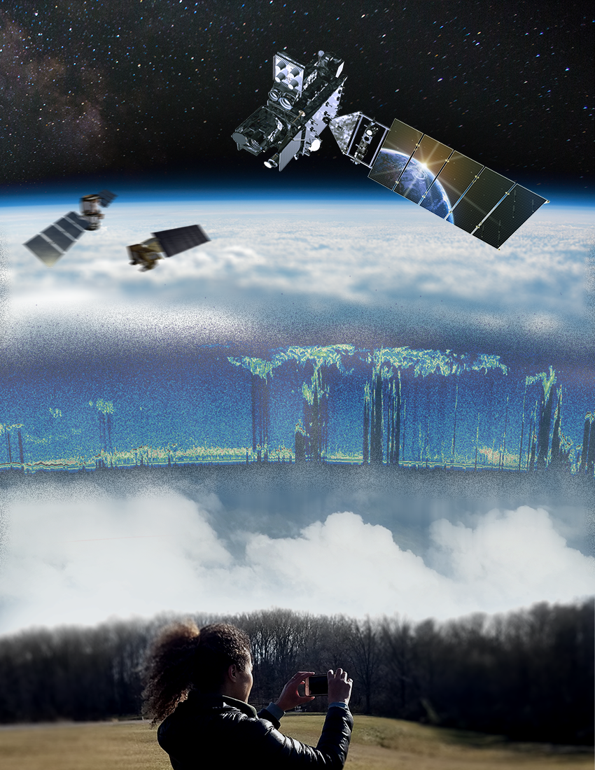 Composite image of an observer on the ground and a satellite above both looking at clouds.