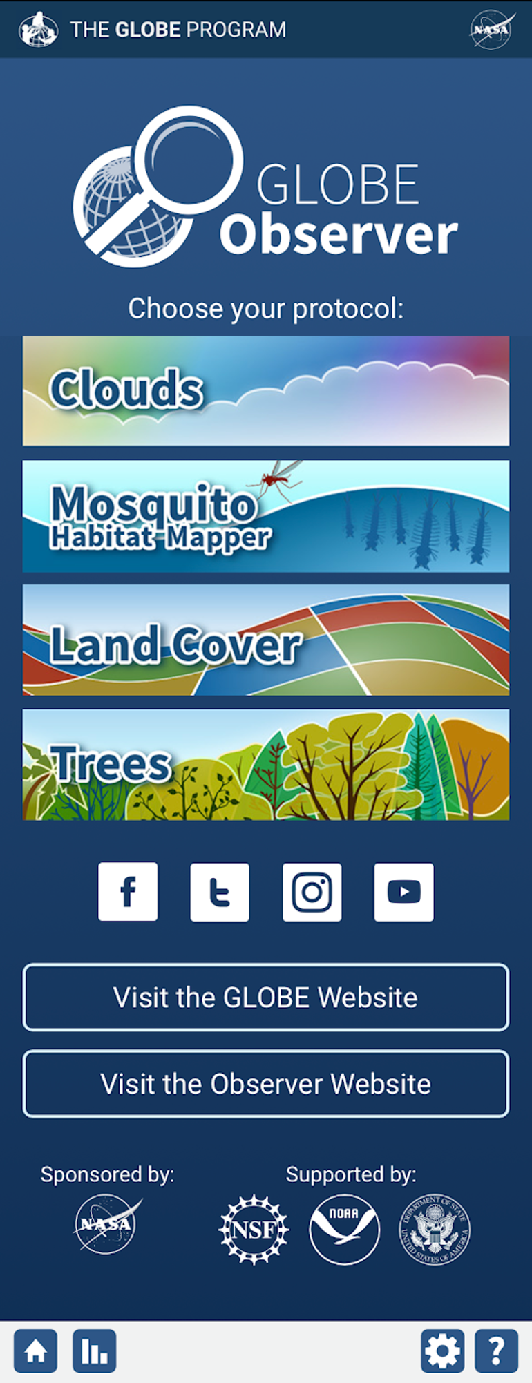 Main screen of the GLOBE Observer app with Clouds, Mosquito Habitat Mapper, Land Cover and Trees.