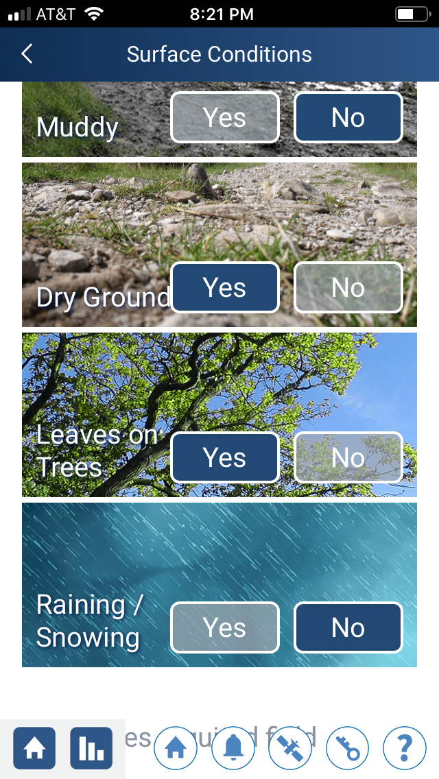 Surface conditions in the GLOBE Observer app
