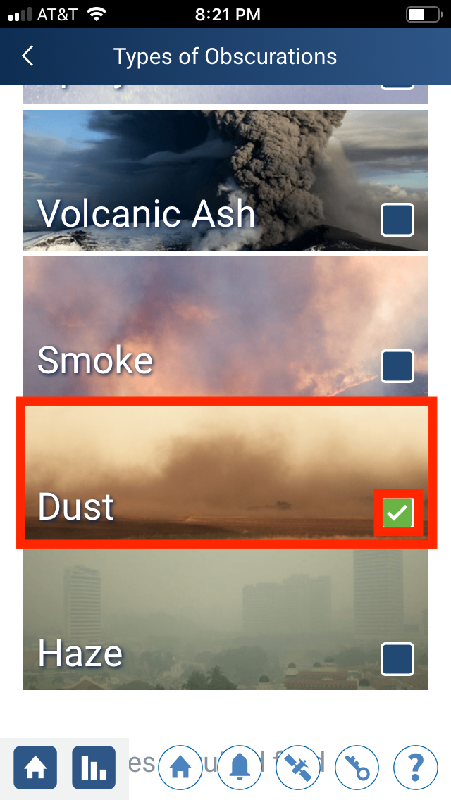 Dust option in the GLOBE Observer app