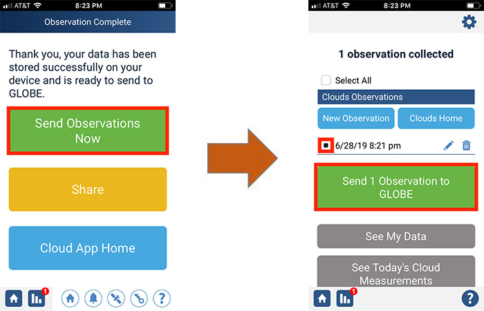 submit data through the GLOBE Observer app