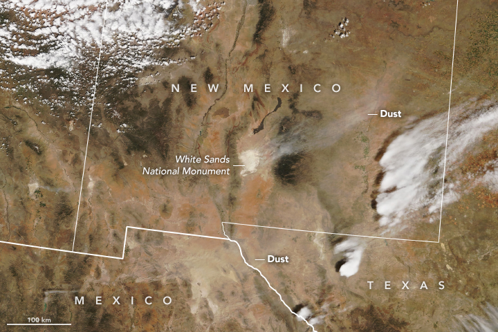 Dust storm in the southwestern United States seen from satellite
