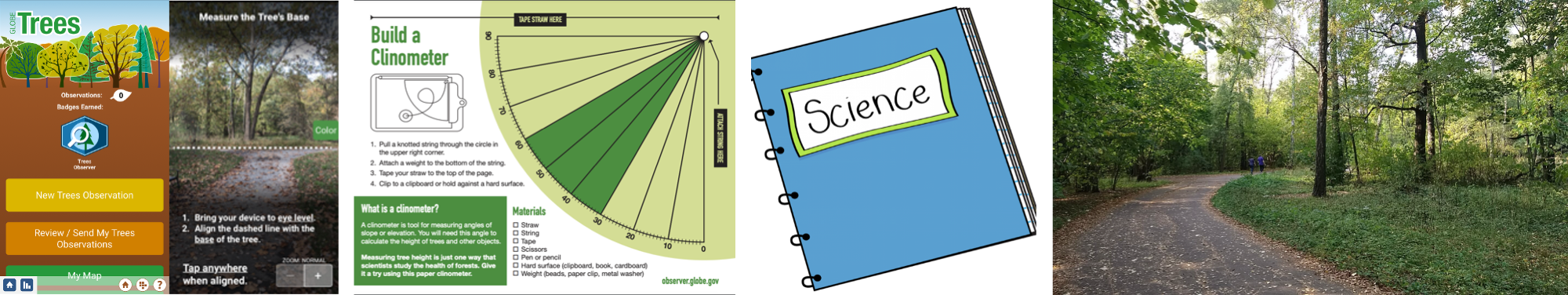 Composite of observe activities, from left: the GLOBE Observer app, the paper clinometer activity sheet, the cover of a science journal, and an image of a landscape with trees.