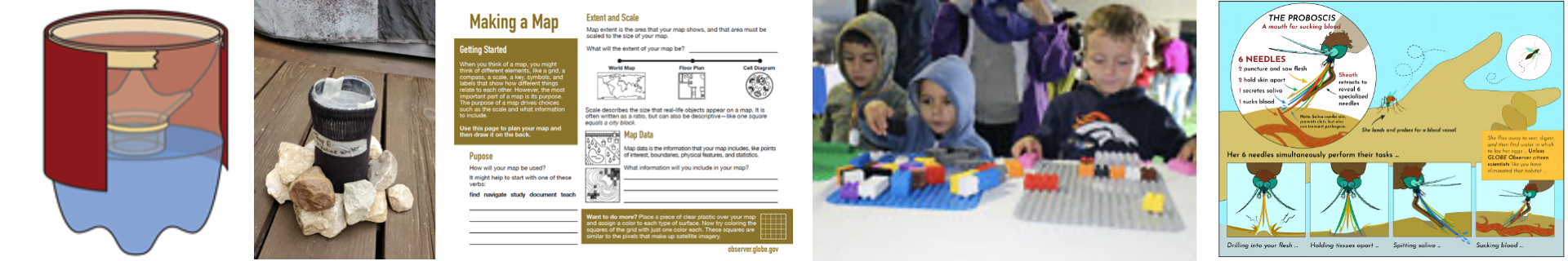 Composite of create activities, from left: diagram of a mosquito larvae trap, an image of a completed trap, the Making a Map instruction sheet, children building landscapes with building blocks, a mosquito poster