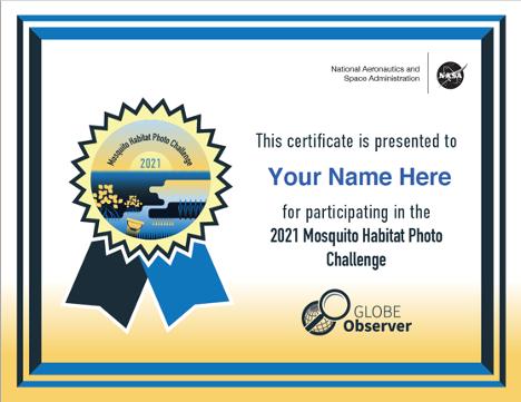 Image of Mosquito Habitat Photo Challenge participation certificate