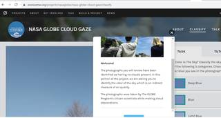 Page of CLOUD GAZE on Zooniverse