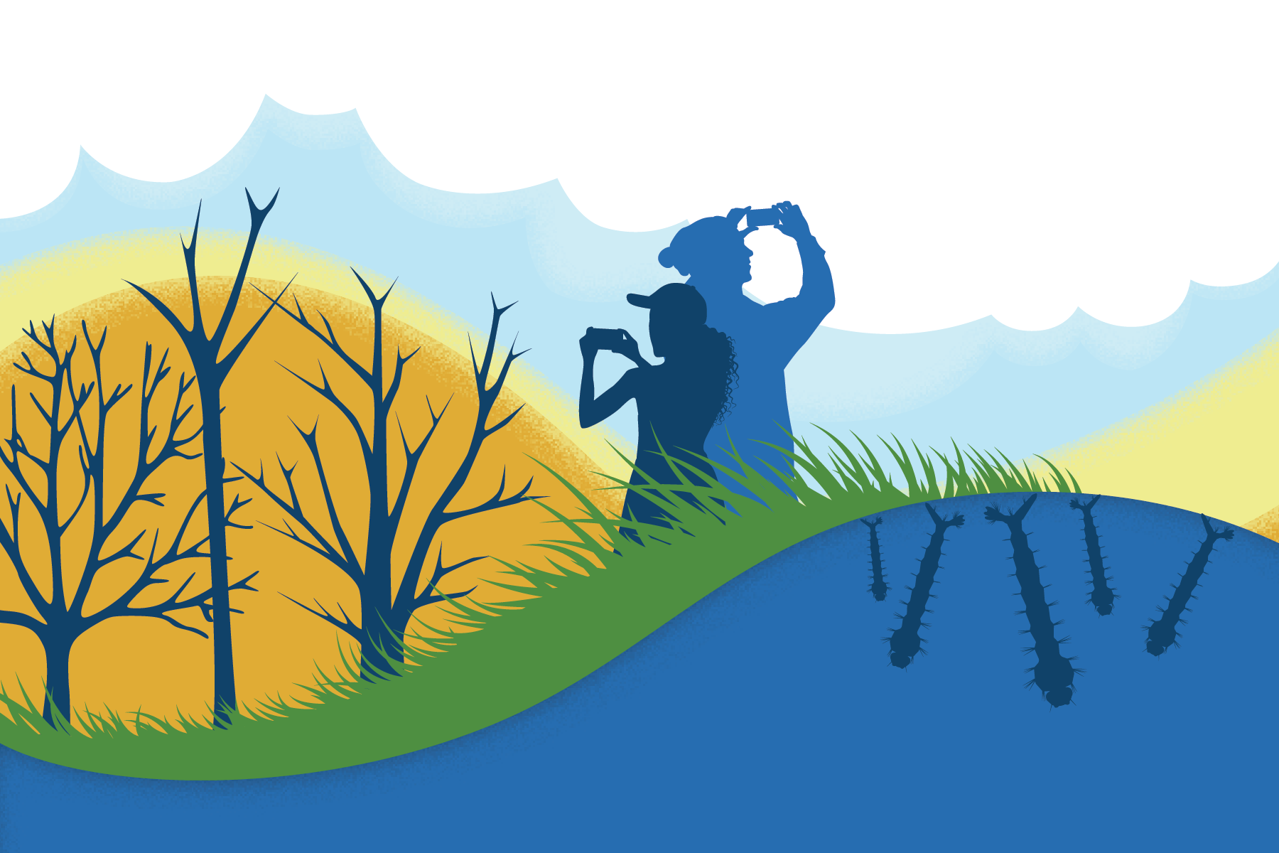 A graphic showing silhouettes of two people taking observations with their phones. They are standing between water with mosquito larvae in it, grass, trees, and clouds, which represent the tools within the GLOBE Observer app.