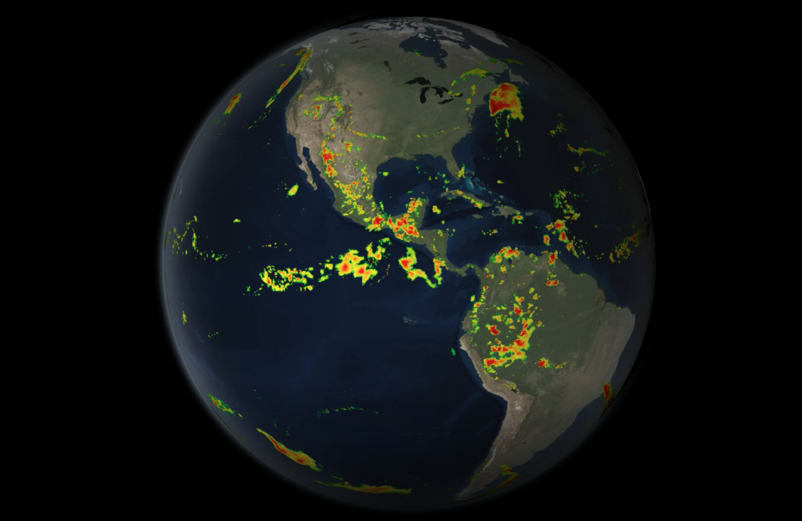 Visualization of the Earth with precipitation data overlay.