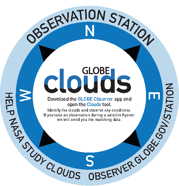 Clouds Observation Station: Download the GLOBE Observer app and open the Clouds tool. Identify the clouds and observe sky conditions. If you take an observation during a satellite flyover, we will send you the matching data.